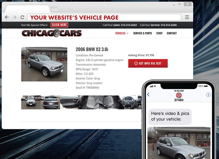 image montrant comment cliquer sur un bouton pour que les informations d'un véhicule soient transmises par texte